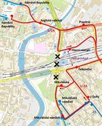 Výluka Mikulášská - mapa