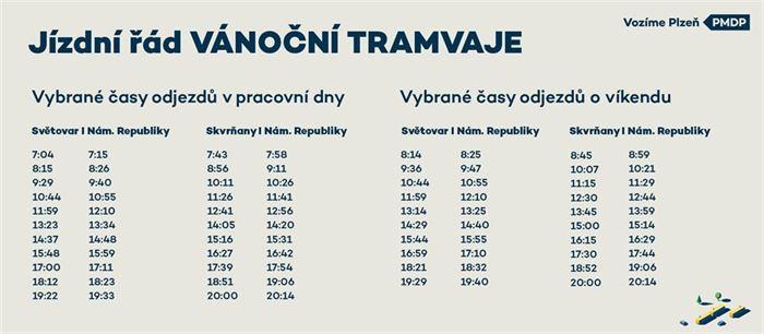 Jizdni rad Vanocni tram tyden+vikend