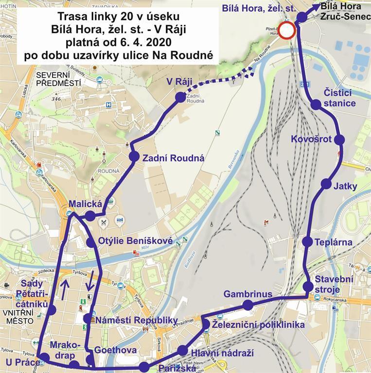 Trasa linky 20 od 6. 4. 2020