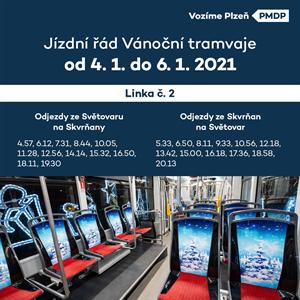 Vánoční tramvaj JŘ 2020 od 4-1
