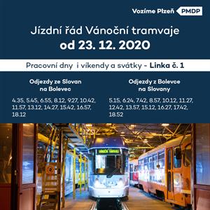 Vánoční tramvaj JŘ 2020 od 23-12