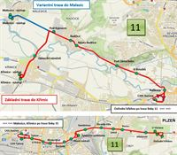 Trasa linky 11 od 1. 9. 2021