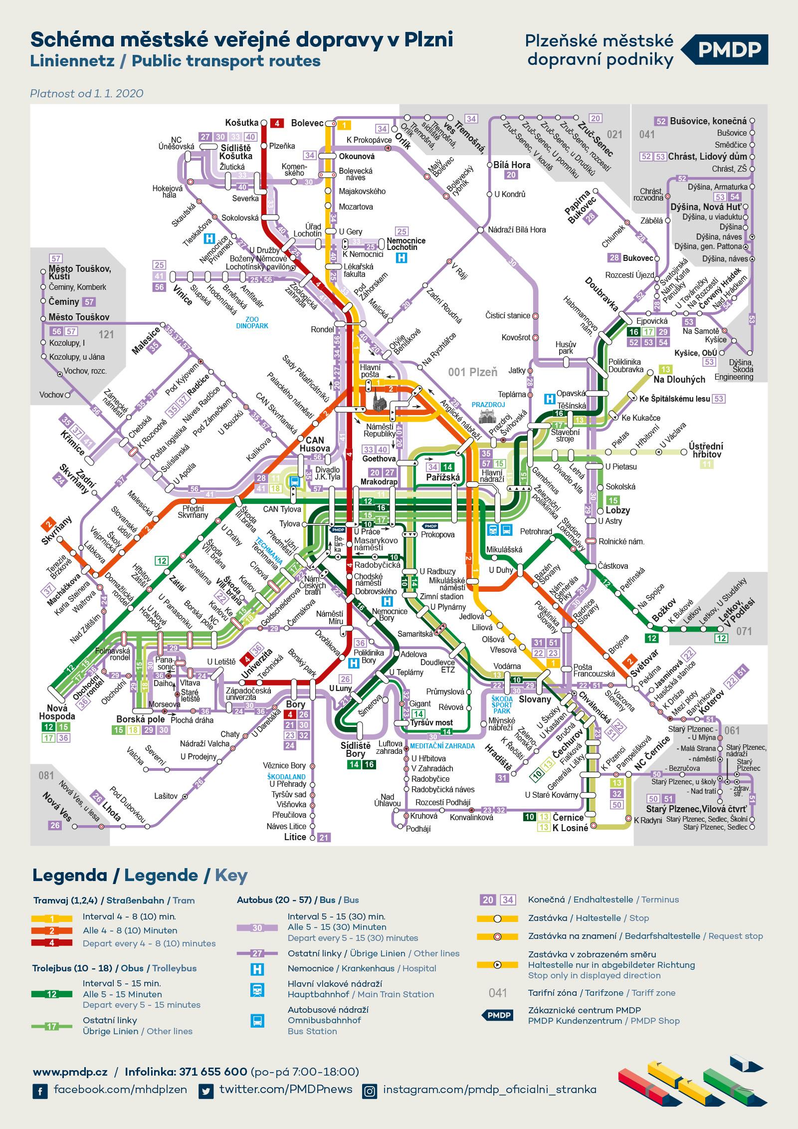 Mapa Mhd Plzenske Mestske Dopravni Podniky A S